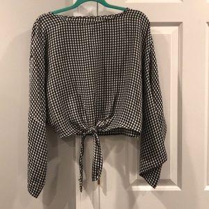 TOPSHOP gingham crop tie blouse size US8